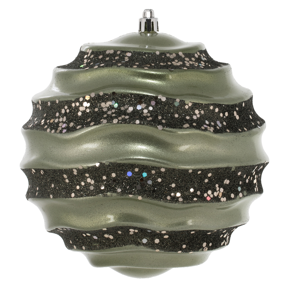6 Inch Wrought Iron Candy Glitter Wave Round Christmas Ball Ornament​