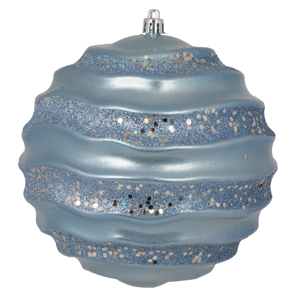 6 Inch Periwinkle Candy Glitter Wave Round Christmas Ball Ornament