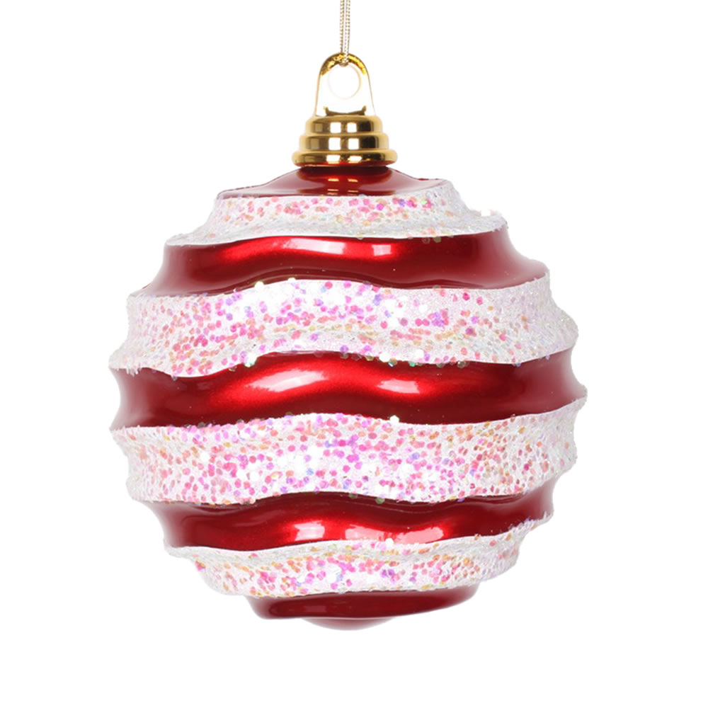 6 Inch Red and White Candy Glitter Wave Round Christmas Ball Ornament