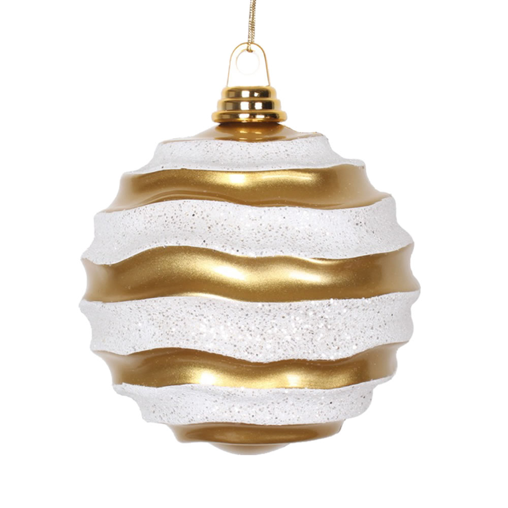 6 Inch Gold and Silver Candy Glitter Wave Round Christmas Ball Ornament