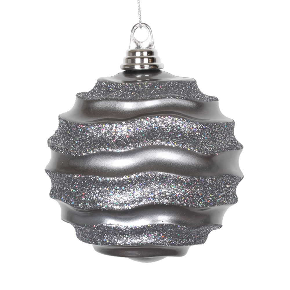 6 Inch Pewter Candy Glitter Wave Round Christmas Ball Ornament