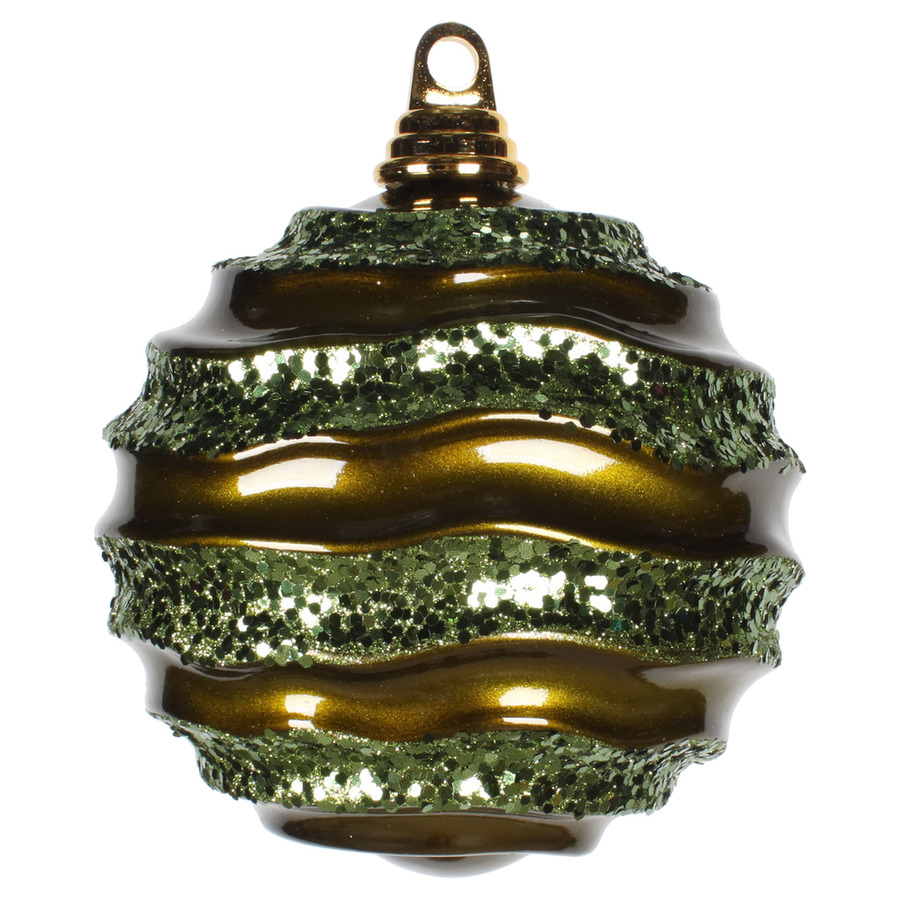 6 Inch Olive Candy Glitter Wave Round Christmas Ball Ornament
