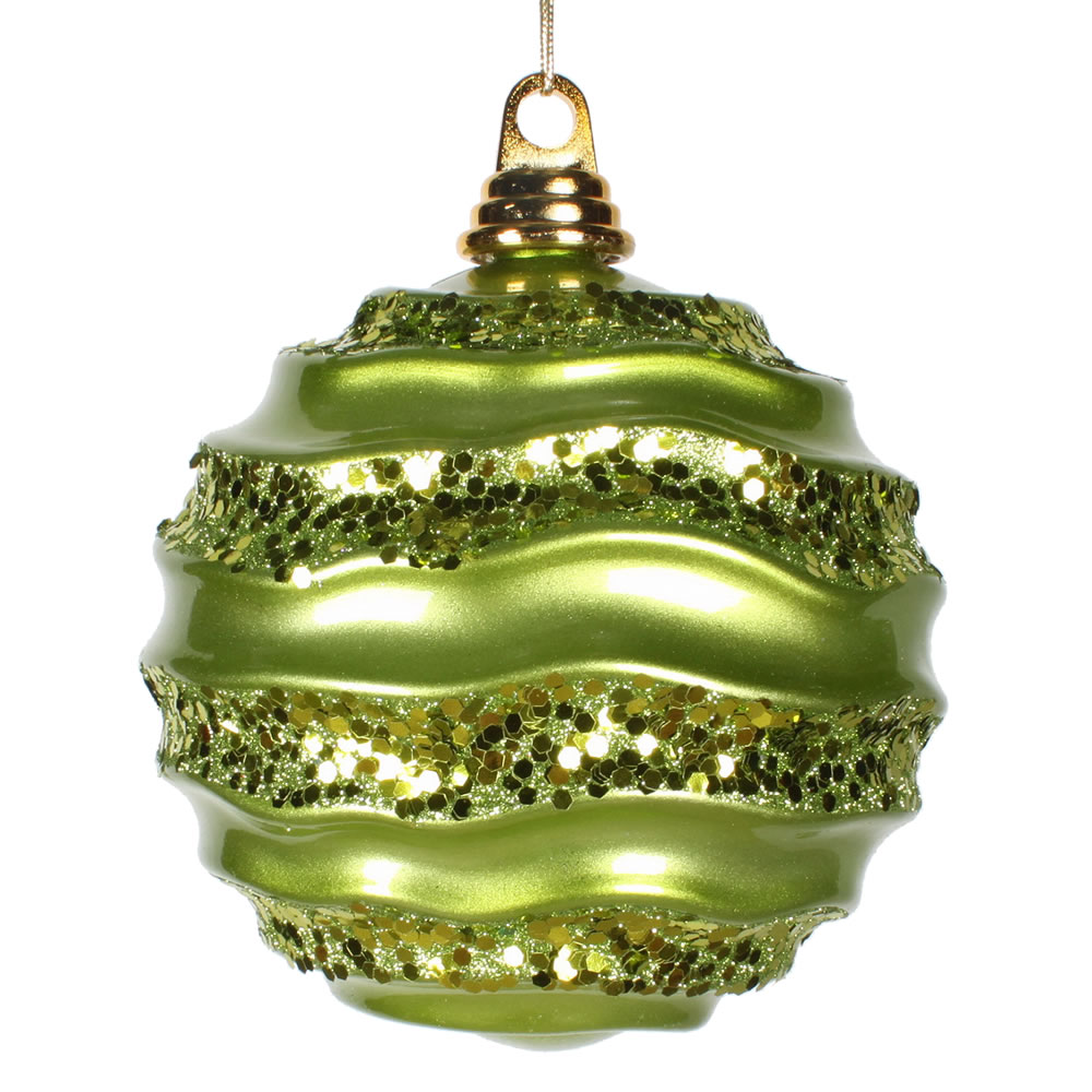 8 Inch Lime Green Candy Glitter Wave Round Christmas Ball Ornament​