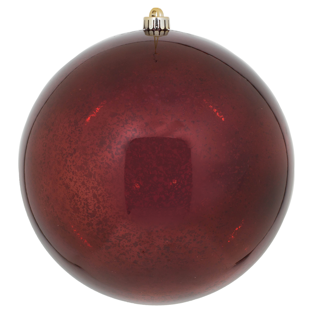 10 Inch Burgundy Shiny Mercury Round Christmas Ball Ornament Shatterproof