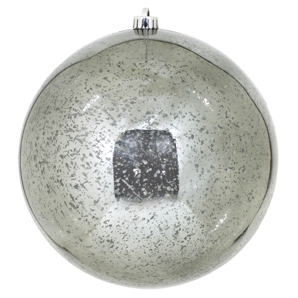 10 Inch Pewter Shiny Mercury Christmas Ball Ornament Shatterproof