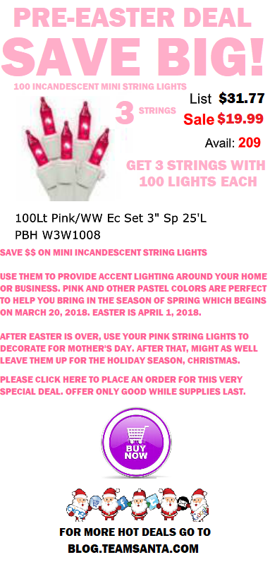 Get 100 Pink Incandescent Easter String Lights w White Wire For Less Than 7 Bucks a Pop