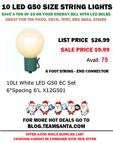 Patio String Lights Available Now For Less Than $10 a String. Save BIG $$ Off Your Energy Bill