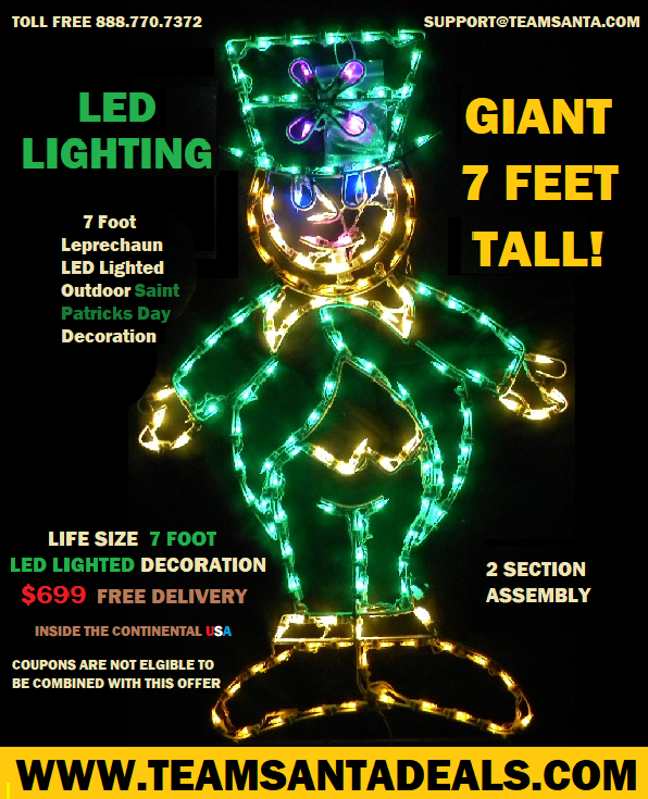 Deal 010 Is An Indoor Outdoor Lighted Giant Leprechaun With LED Lights That Beam Erin Go Bragh