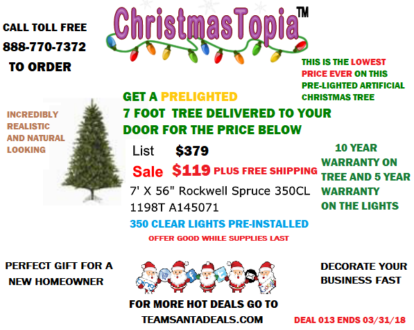 DEAL013: 7 Foot Rockwell Spruce Artificial Christmas Tree 350 DuraLit Incandescent Clear Mini Lights