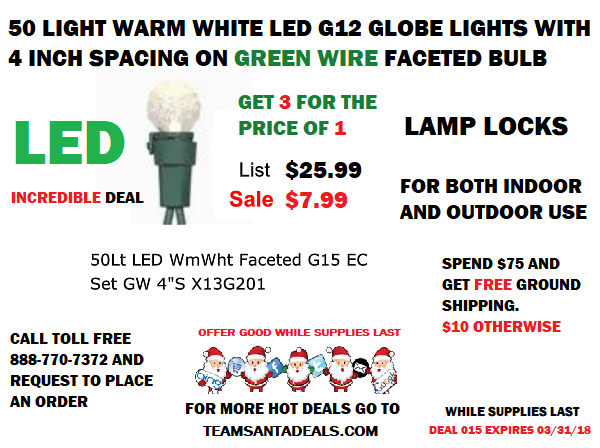Deal015 Save Almost $20 Get 50 G12 Globe String Lights for Less Than $8 @ TeamSantaDeals.com