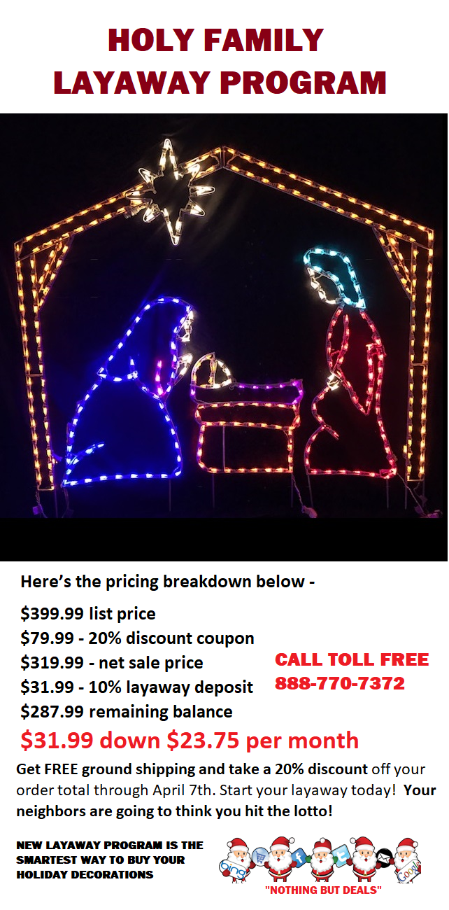 Own This Outdoor LED Nativity Manger with Holy Family for Only $32 down and $24 Per Month, It Makes Sense to Order in March