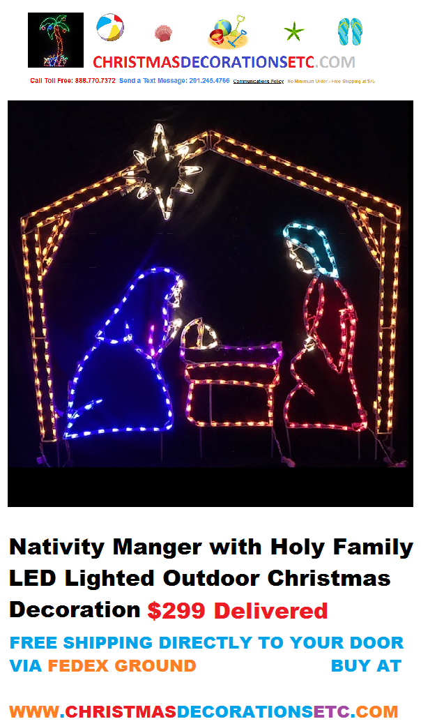 New LED Nativity Manger with Holy Family Included $299 Delivered