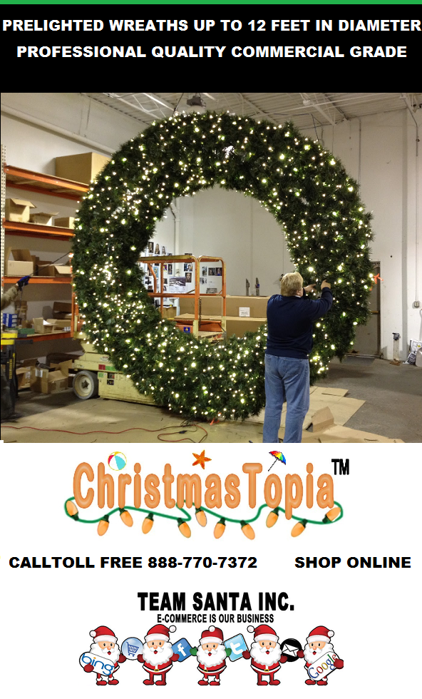 Giant Lighted Christmas Wreaths up to 12 Feet Available for Immediate Delivery Limited Inventory