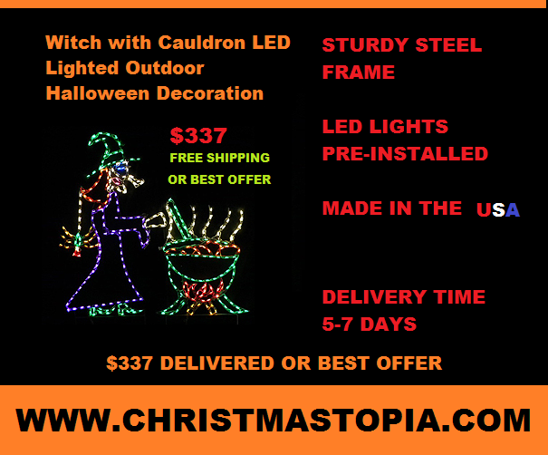 Wacky Witch at Cauldron Lighted Halloween Decoration