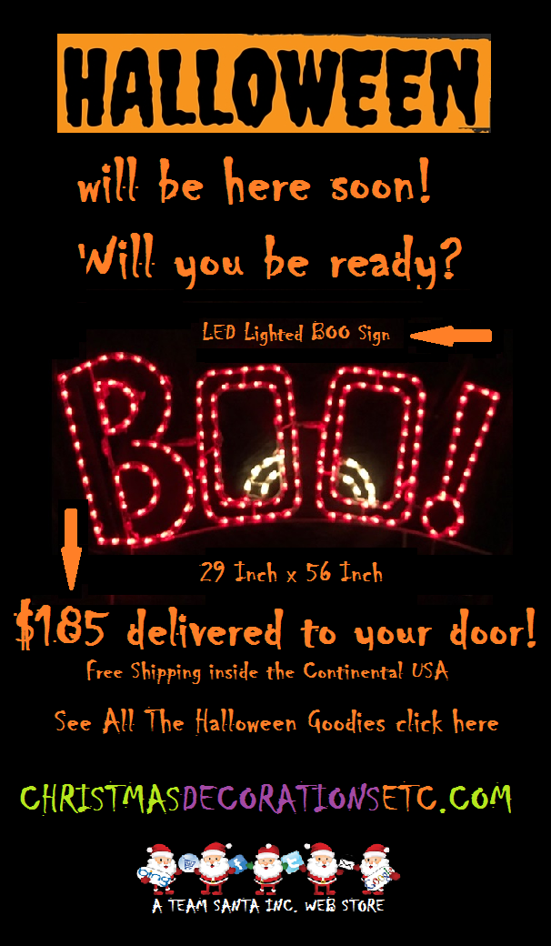 LED Lighted Boo Sign For $185 Delivered. Free Shipping on Lighted Outdoor Halloween Decorations