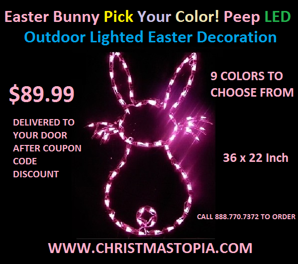 Lighted Outdoor Easter Bunny Decoration Available in 9 Colors Start Decorating Today