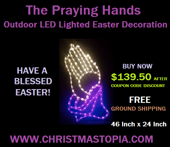 Lighted Praying Hands Easter Decoration