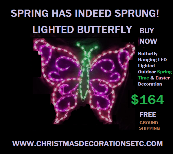 LED Lighted Butterfly Outdoor Spring Decoration Provides a Soothing Visual Display of Color