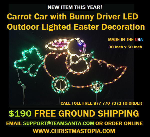 Easter Bunny's New Ride Will Make it to Your House Faster this Year.  Lighted Outdoor Easter Decoration is Popular for Sure