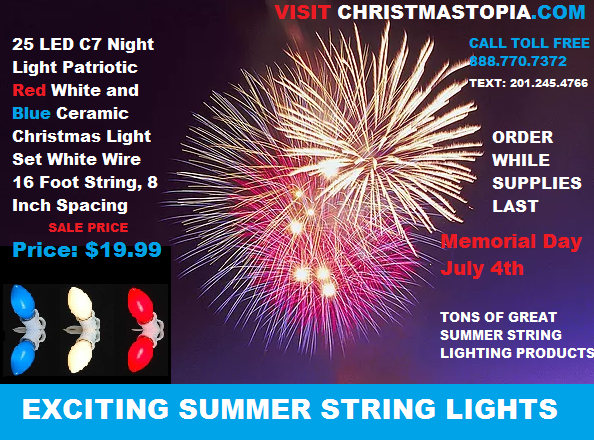 Patriotic Christmas Lights.Evening Summer Time Parties Look Better With The Patriotic