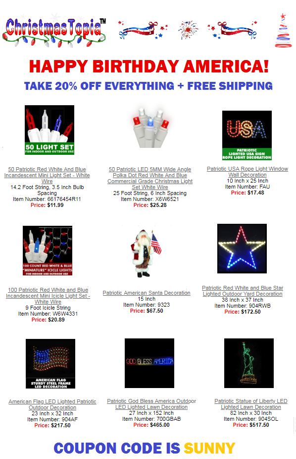Christmas in July Sale on Lights, Decorations, Tree Ornaments All 20% Off Free Shipping