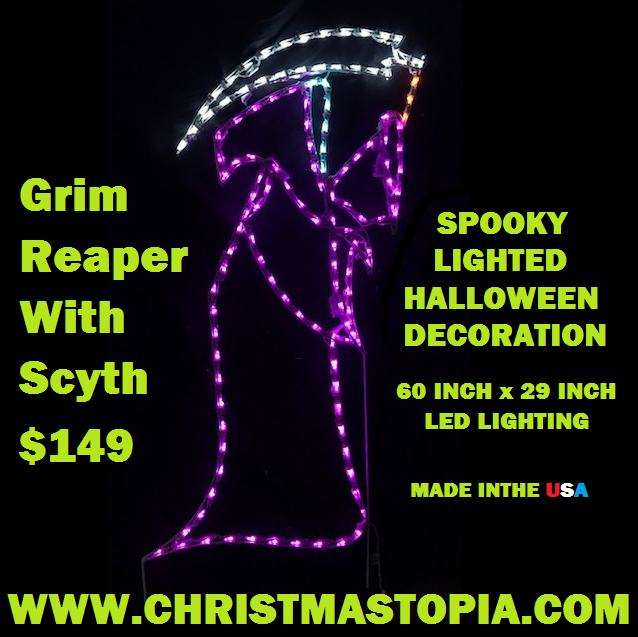 Lighted Halloween Grim Reaper With Scythe Decoration Will Scare The Poop Out Of All Visitors Who Enter Your Lair
