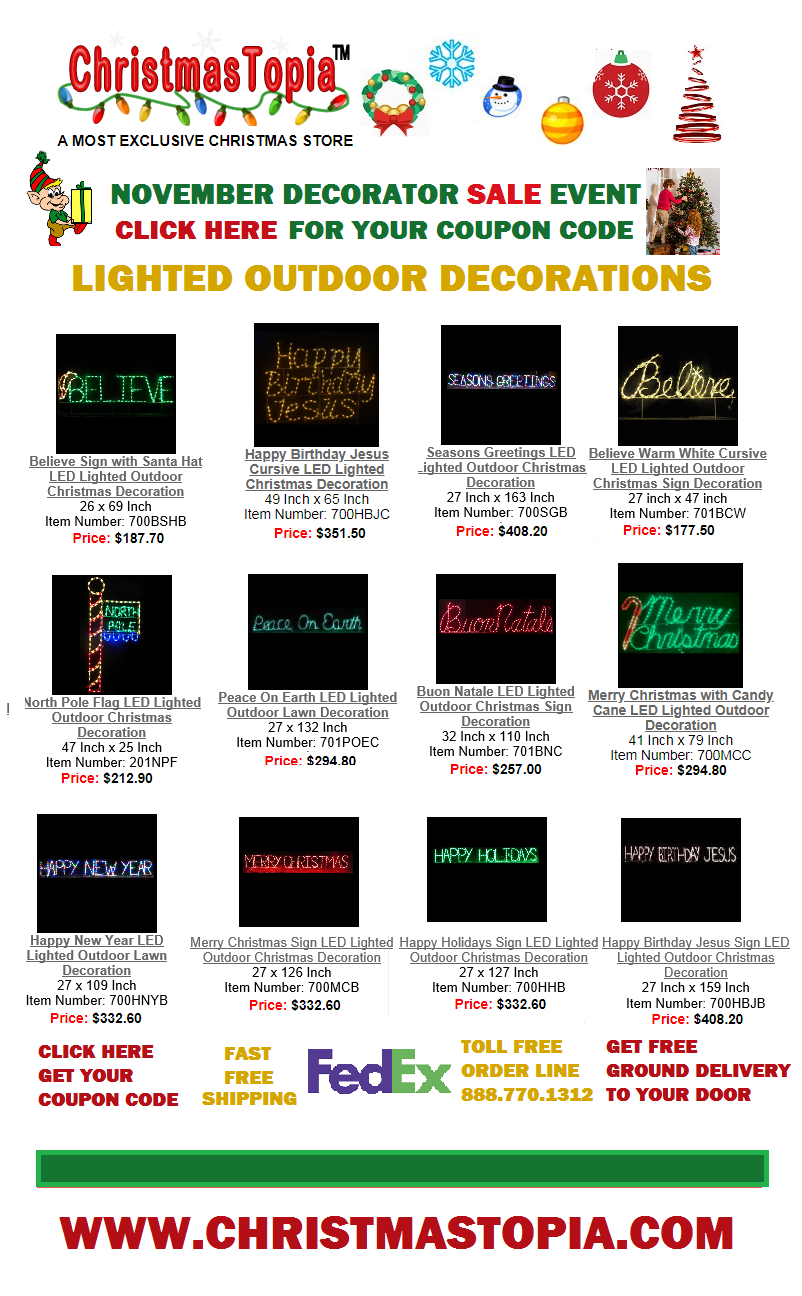 Travel The Road To Christmas Decorations By Following The Lighted Holiday Signs